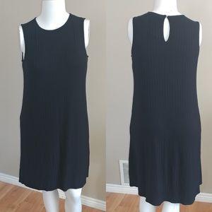 Black Ribbed A-Line Dress